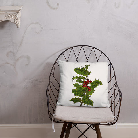 Holly Sprig Illustrated Design Throw Pillow