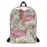 Cheer Life Design on Peonies Background Backpack