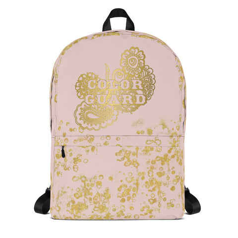 Color Guard Doodle in Pink and Gold Flake Backpack- Great for Teams and Groups