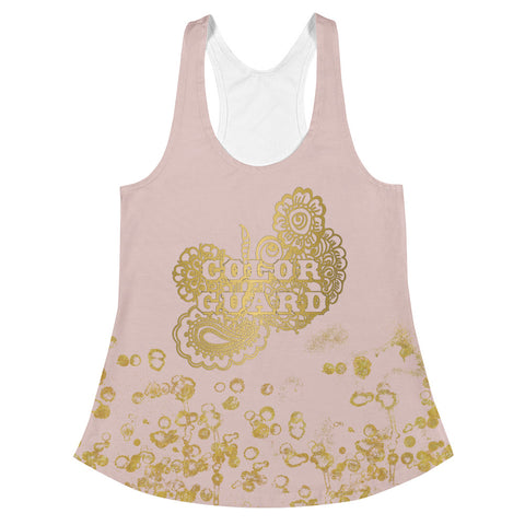 Color Guard Doodle in Pink and Gold Flake Women's Racerback Tank