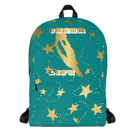 Cheer Life Silhouette in Gold with Gold Stars- Style 10- Backpack-Great for Teams and Squads