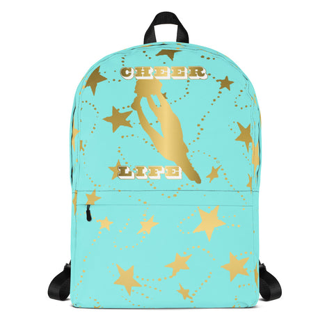 Cheer Life Silhouette in Gold with Gold Stars- Style 11- Backpack-Great for Teams and Squads
