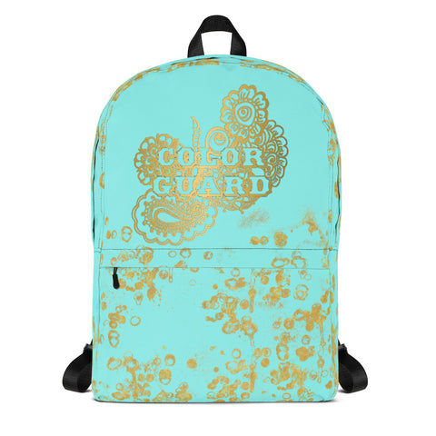 Color Guard Backpack-Style 1 in Aqua and Gold Flake-Great for Groups