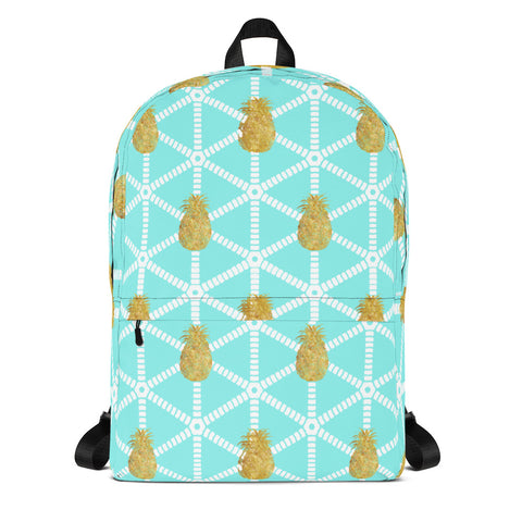 Aqua and White with Gold Pineapples-Backpack