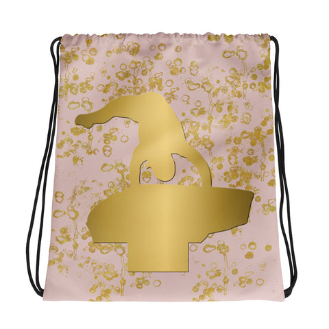 Gymnastics Vault Drawstring Bag in Pink and Gold Flakes