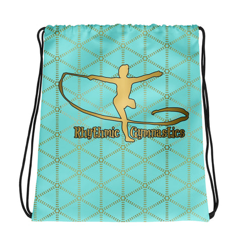 Rhythmic Gymnastics in Aqua and Gold Grid- Cinch Sak- Perfect bag for teams