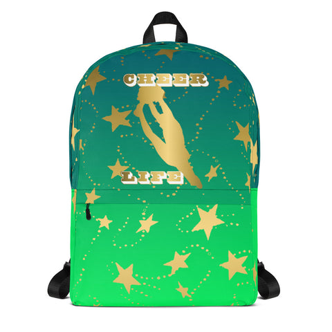 Cheer Life Silhouette in Gold with Gold Stars- Style 7- Backpack-Great for Teams and Squads