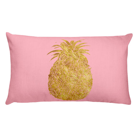 Millennial Pink and Gold Pineapple Rectangular Pillow
