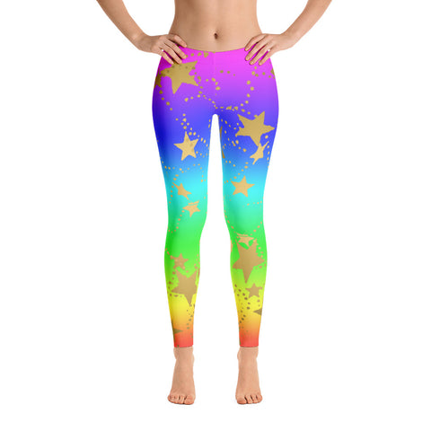 Rainbows and Gold Stars Women's Leggings