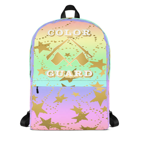 Color Guard Rainbow with Gold Stars -Backpack-Perfect for Gifts or for Team Bags