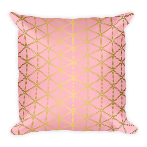 Millennial Pink and Gold Grid Square Pillow