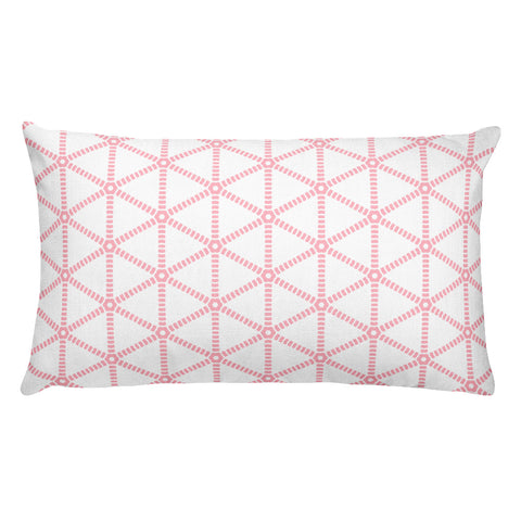 Millennial Pink Grid Rectangular Pillow