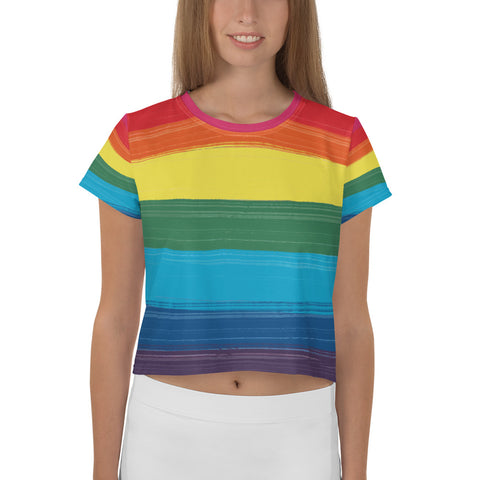 LGBTQ+ Pride Flag All-Over Print Crop Tee