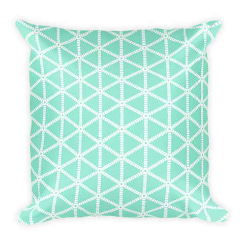 Mint with White Grid Pattern Square Throw Pillow