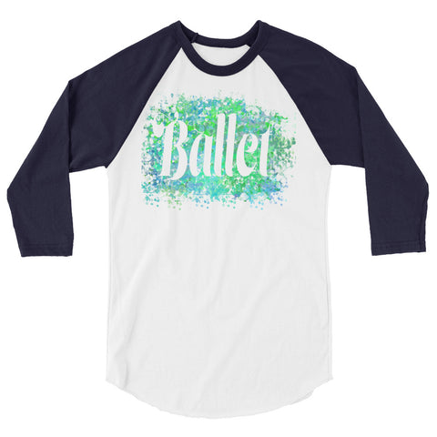 Ballet Water Color Inspired Silhouette 3/4 Sleeve  Shirt