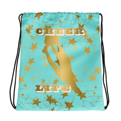 Cheer Life Silhouette in Gold with Gold Stars- Style 11 -Cinch Sak