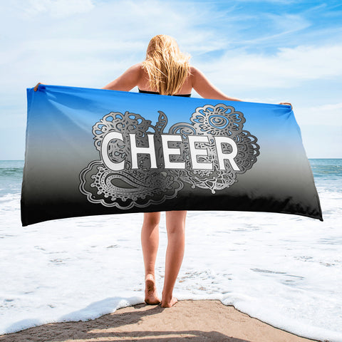 Cheer Doodle Design on Blue to Black Gradient-Beach Towel
