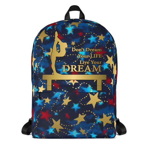 Gymnastics Patriotic with Gold Stars -Backpack- Perfect for Teams can be Customized