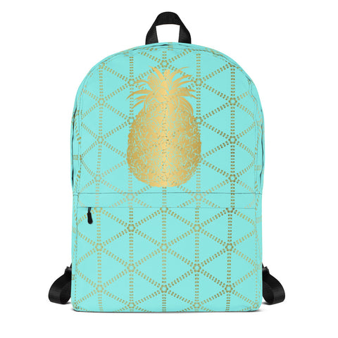 Gold Pineapple with Aqua and Gold Grid-Backpack