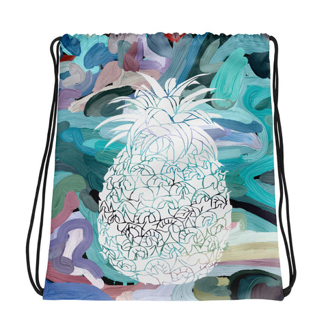 White Pineapple Silhouette on Abstract Design-All-Over Print Drawstring Bag