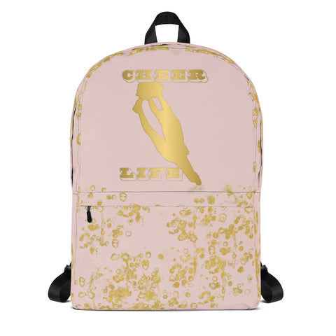 Cheer Backpack in Pink and Gold Flake-Style 2-Great for Teams or Squads