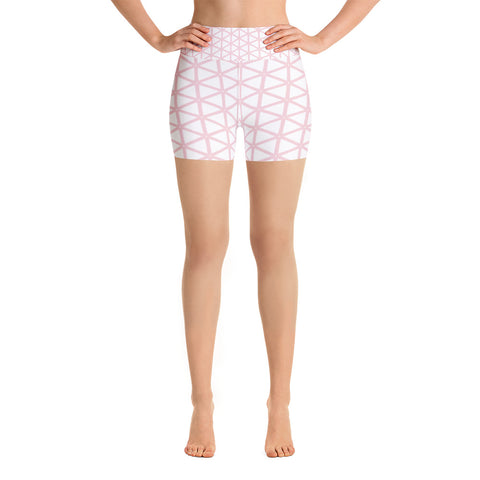 White With Pale Pink Gide Women's Yoga Shorts