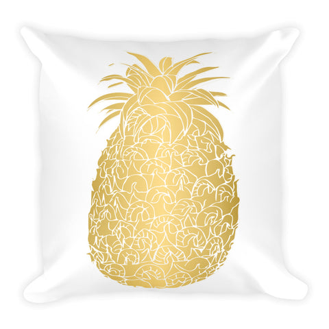 Gold Pineapple Square Throw Pillow Style 2