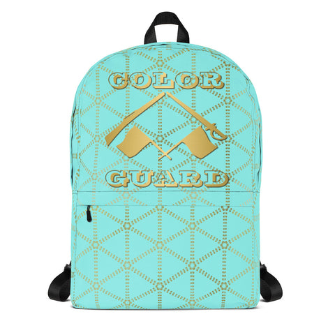 Color Guard Aqua and Gold Grid- Backpack- Perfect bag for teams