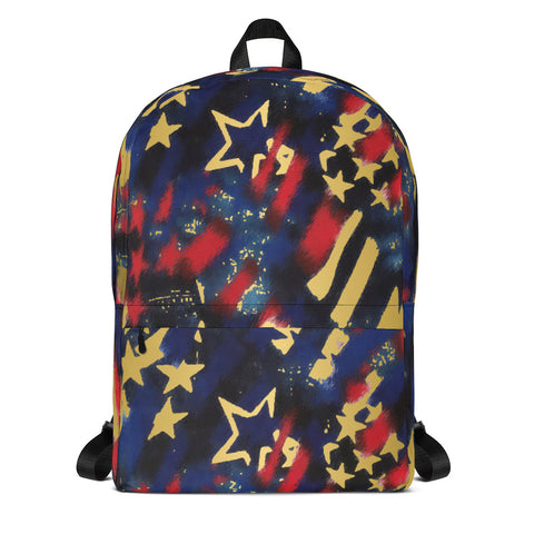 Patriotic Red, White, Blue and Gold- Backpack- Style 3- Great for Teams, Can be Customized