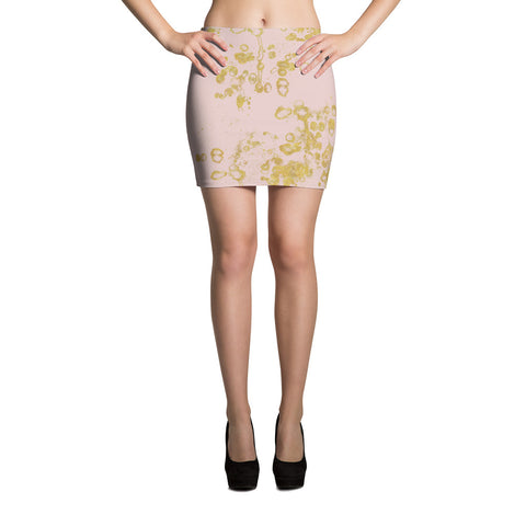 Women's Mini Skirt Pink and Gold Flake