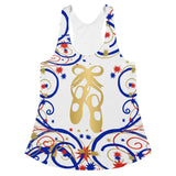 Ballet Shoes  in Swirls and Stars Red, White and Blue Women's Racerback Tank