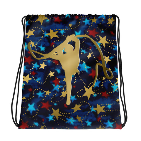 Rhythmic Gymnastics Patriotic with Gold Stars -Cinch Saks- Perfect for Teams can be Customized