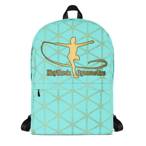 Rhythmic Gymnastics in Aqua and Gold Grid- Backpack- Perfect bag for teams