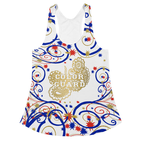 Color Guard in Swirls and Stars Red, White and Blue Women's Racerback Tank