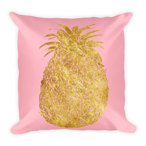 Millennial  Pink and Gold Pineapple Square Pillow