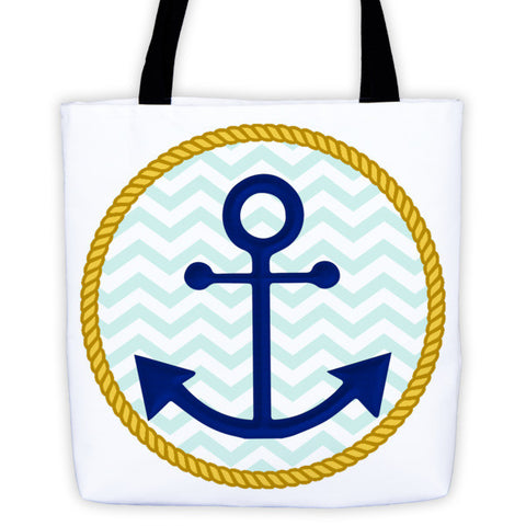 Anchor Tote Bag with Chevron Background