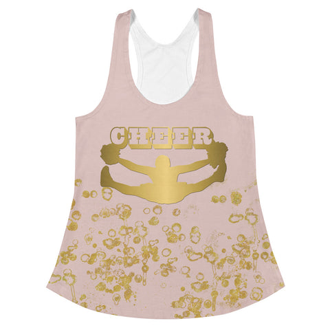 Cheer Women's Racerback Tank in Pink and Gold Flake- Style 2