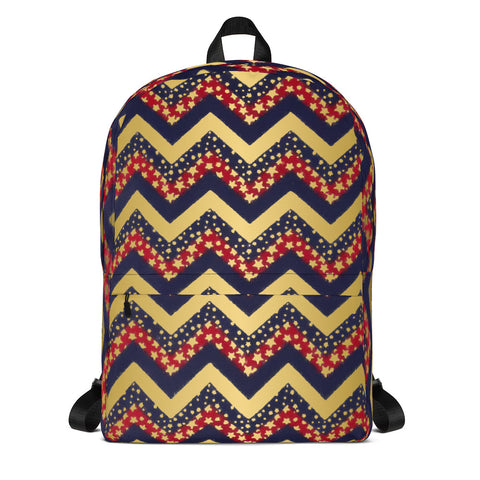 Patriotic Red, White, Blue and Gold- Backpack- Style 4- Great for Teams, Can be Customized