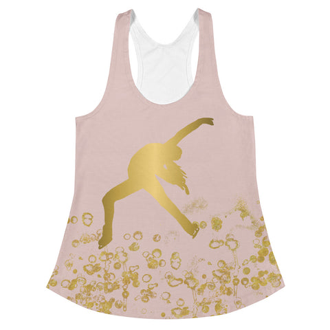 Figure Skating Pink and Gold Flake Women's Racerback Tank Top-Style 2