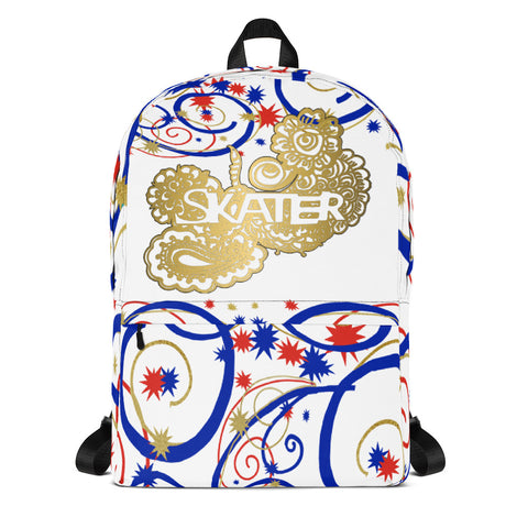 Skater Doodle in Swirls and Stars Backpack in Red, White, and Blue- Perfect for Clubs or Teams