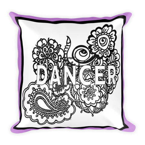 Dancer Zen Tangle Coloring Page Pillow