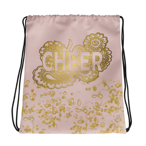 Cheer Doodle Bag in Pink and Gold Flake-Style 1 -Great for Teams or Squads