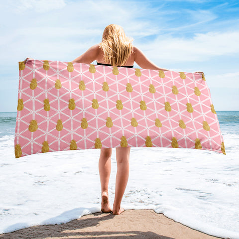Pastel Pink and Gold Pineapple -Beach Towel
