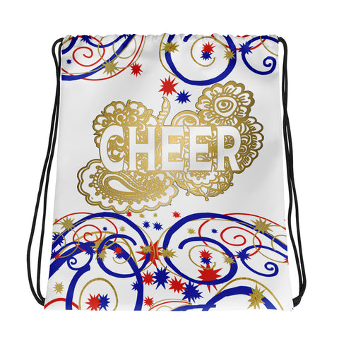 Cheer Swirls and Stars Cinch Sak- Great for Teams and Squads-Style 2