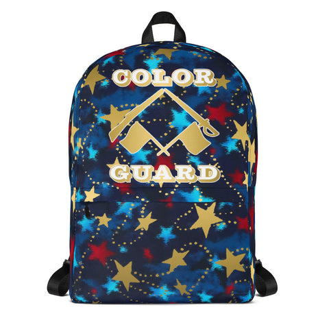 Color Guard  Patriotic with Gold Stars -Backpack- Perfect for Teams can be Customized