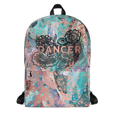 Dancer Doodle with Rose Gold Patina Design-All-Over Print Backpack