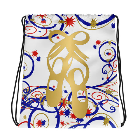 Ballet Shoes Swirls and Stars Drawstring Bag- Great for Dance Teams/Troops
