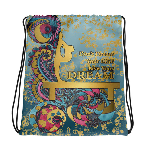 Gymnastics Live your Dream in Gold and Teal Gradient Cinch Sak- Great for Teams or Groups