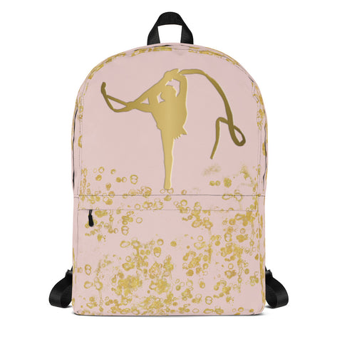 Rhythmic Gymnastics Backpack In Pink and Gold Flake-Make Great Team Bags