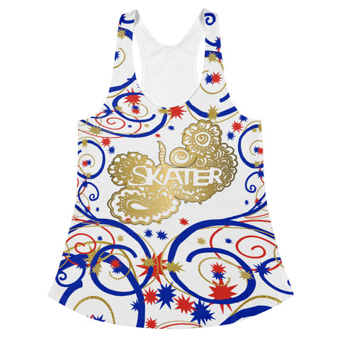 Skater in Swirls and Stars Red, White and Blue Women's Racerback Tank